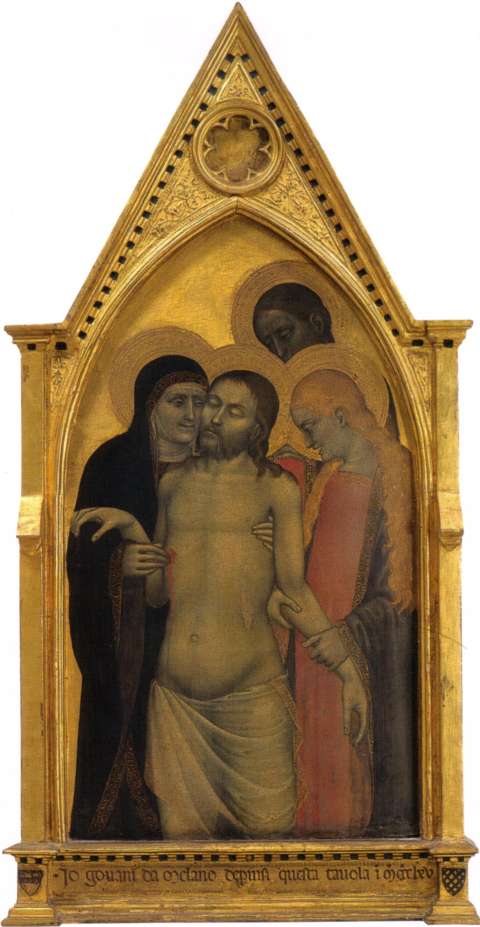 Giovanni da Milano, Cristo in pietà tra la Madonna, san Giovanni Evangelista e santa Maria Maddalena, 1365, tempera e oro su tavola, Firenze, Galleria dell'Accademia