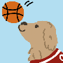 Golden retriever bounces basetball.png