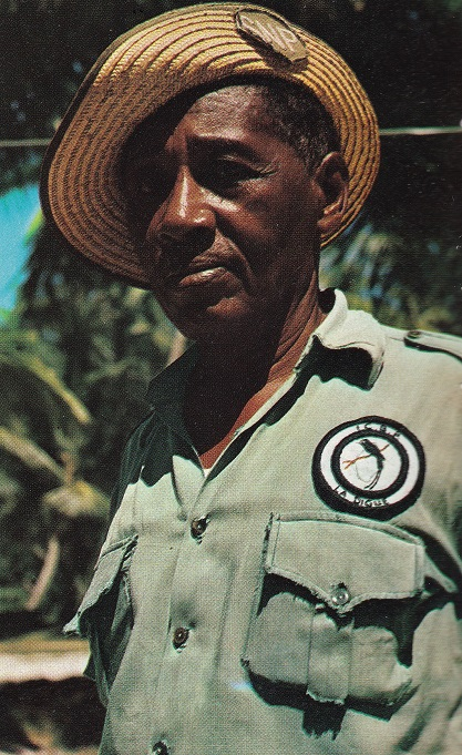 A warden with a ICBP mark on his uniform on La Digue, Seychelles in the 1970s ICBP warden La Digue Seychelles 1970s.jpg