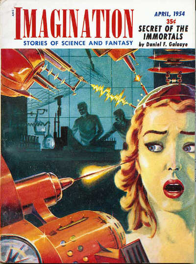 "Galouye's novella ""Secret of the Immortals"" was the cover story for the April 1954 issue of Imagination Imagination 195404.jpg"