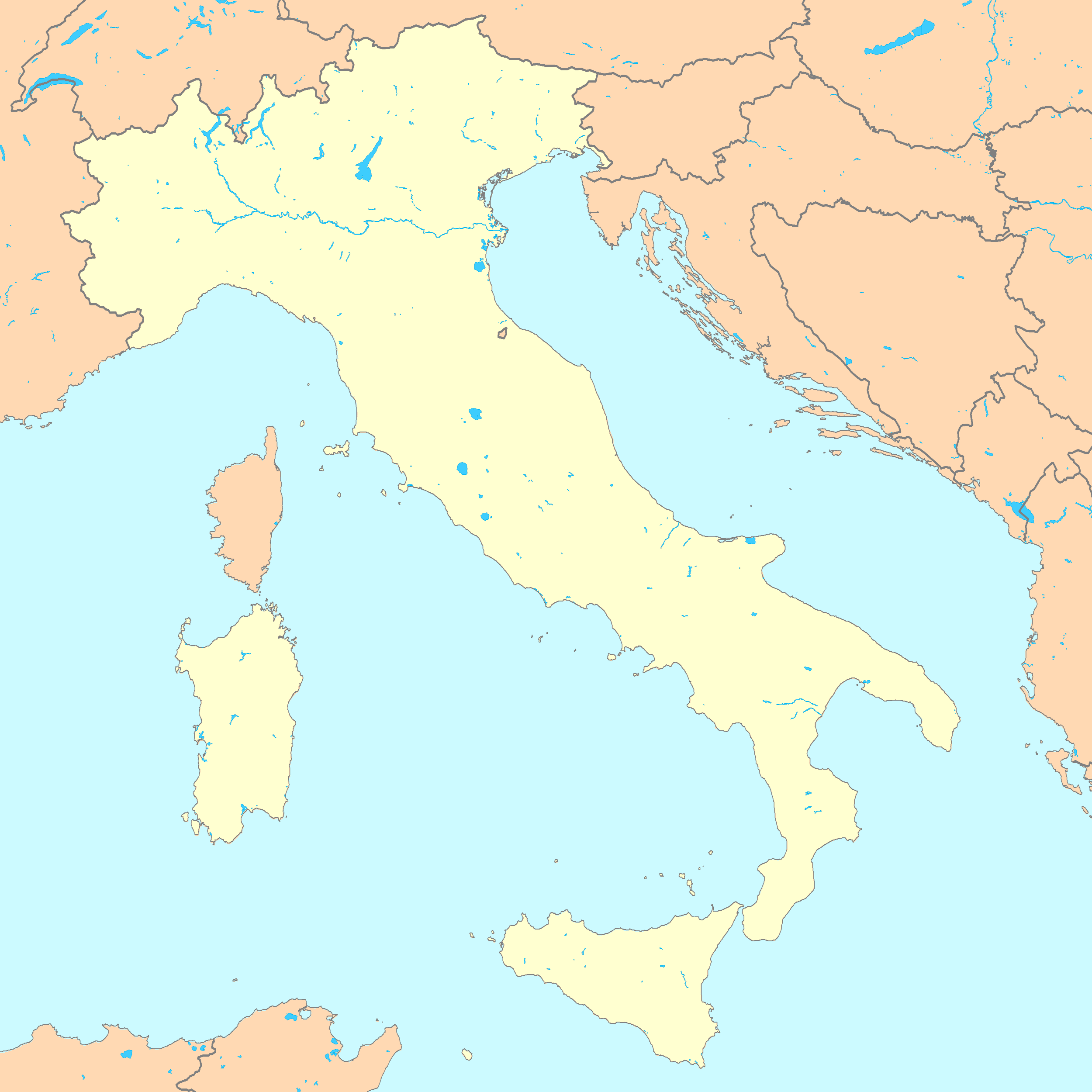 Blank Map Of Italy With Rivers - Physical map of italy