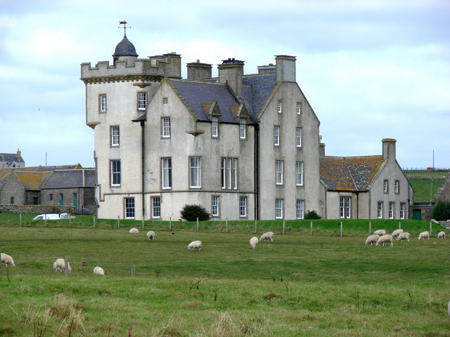 The new Keiss Castle with sheep outside