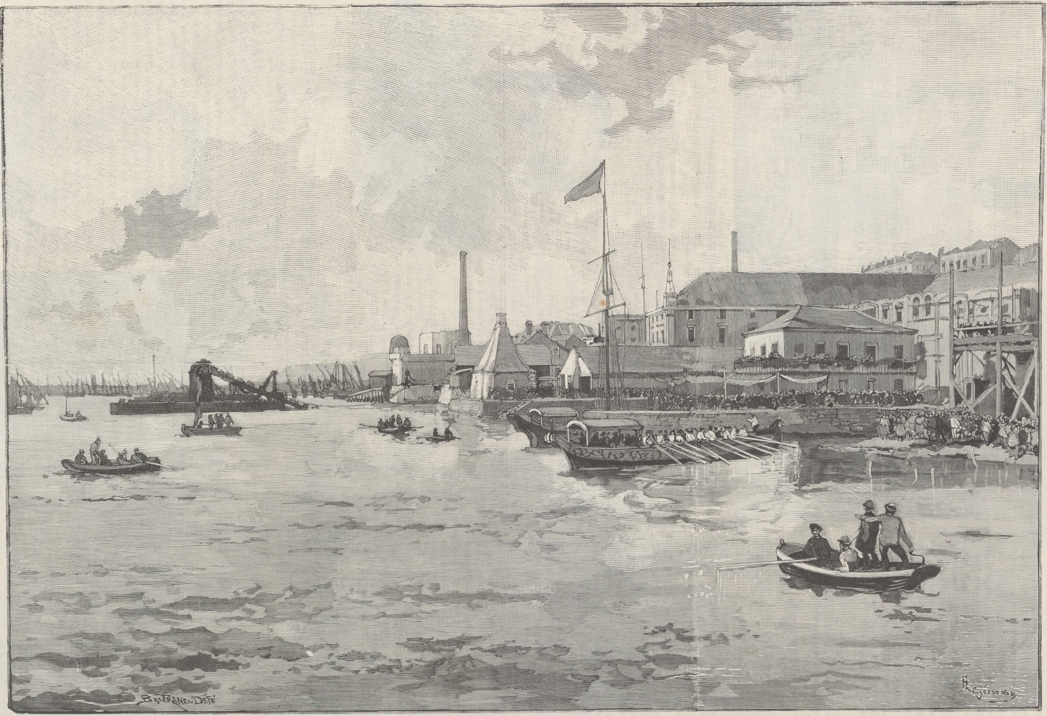 Landing of Dom Pedro on Lisbon: The imperial boat approaching the Navy's Arsenal.