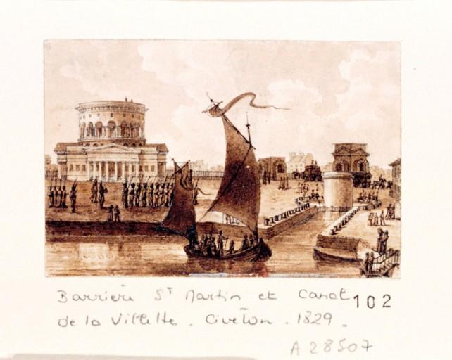 Fichier:La barrière Saint-Martin et le canal de la Villette, par Christophe Civeton (1796-1831).jpeg