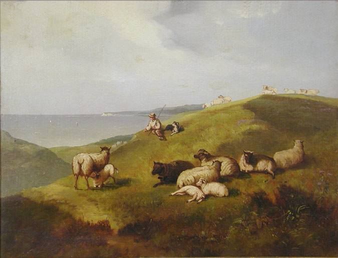 Lanscape with sheep herder