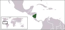 Bản đồ hành chính với Nicaragua được làm nổi bật
