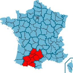 Midi-Pyrénéess läge i Frankrike