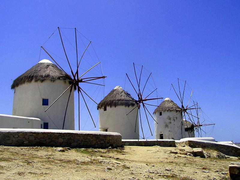 Wiatraki na Mykonos