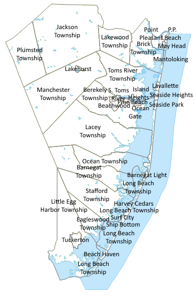 Ocean County Nj Map Ocean County, NJ Town Map [380x580] : MapPorn Ocean County Nj Map