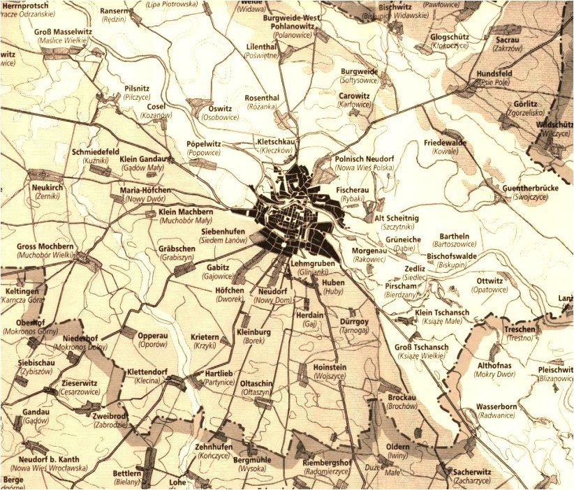 Breslauer Vorstadtsiedlungen und Umland vor 1842Namen auf Deutsch (in Klammern sind die nach 1945 eingeführten polnischen Ortsnamen angeführt)