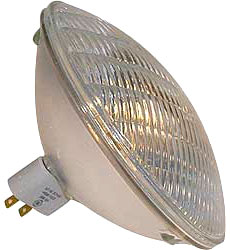 Sealed beam PAR lamp. When the lamp burns out or breaks, the whole assembly must be replaced