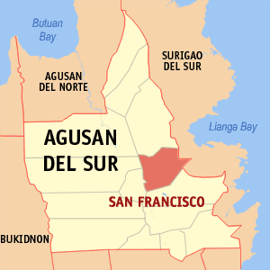 Map of Agusan del Sur showing the location of San Francisco