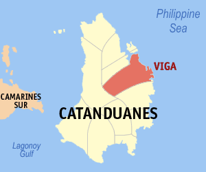Map of Catanduanes showing the location of Viga