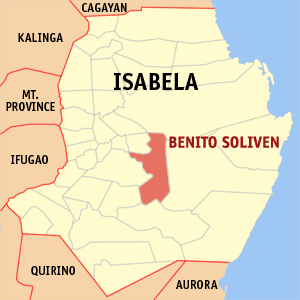 Map of Isabela showing the location of Benito Soliven