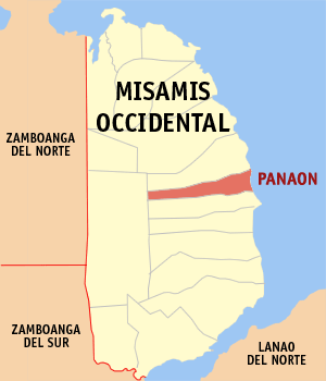 Map of Misamis Occidental showing the location of Panaon
