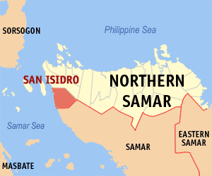 Map of Northern Samar showing the location of San Isidro