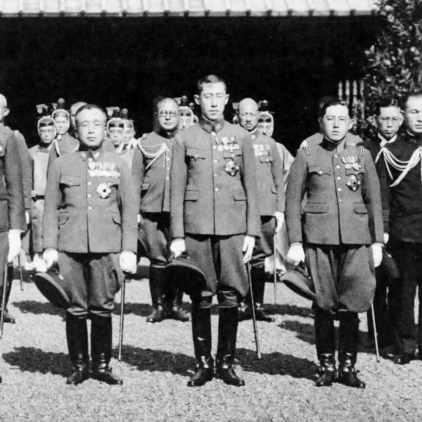 Crown Prince Lieutenant General Yi Un, Prince Captain Yi Geon and Captain Yi Wu in 1938 Prince Yi Wu 09.jpg