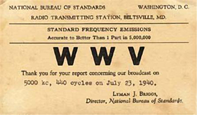 1940 QSL card for WWV in Maryland, a government operated shortwave station used for broadcasting time signals. QSL card sent to listener confirming reception of WWV from Maryland - 194007.jpg