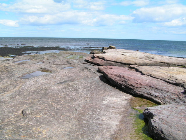Sandstone outcrop on the foreshore at Annstead Beach - geograph.org.uk - 179700
