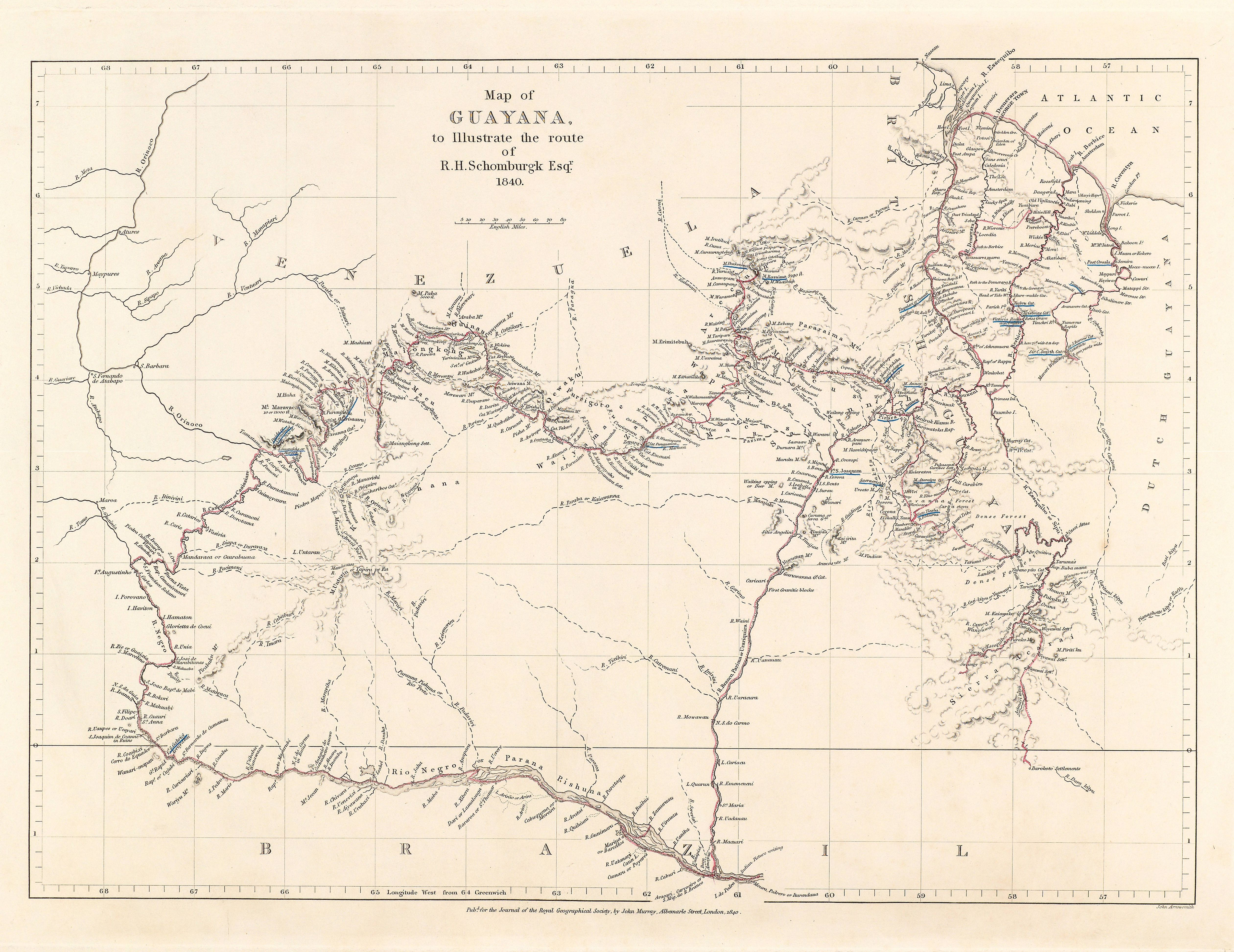 Schomburgk's 1840 map of his route through Guayana
