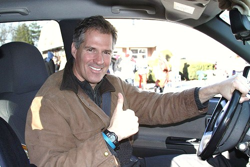 Brown campaigning in his truck.