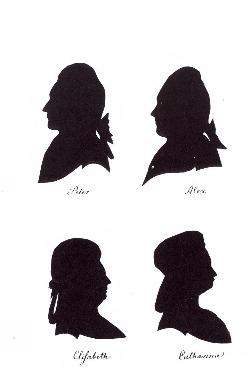 Silhouettes of Catherine (1741-1807), Elisabeth (1743-1782), Peter (1745-1798), and Alexander of Brunswick-Luneburg-Wolfenbuttel (1746-1787). The Danish State Archives.