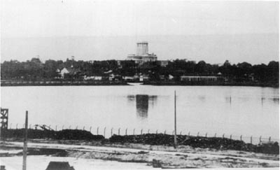 A view of the causeway, blown up after the Allied retreat, with the visible gap in the middle