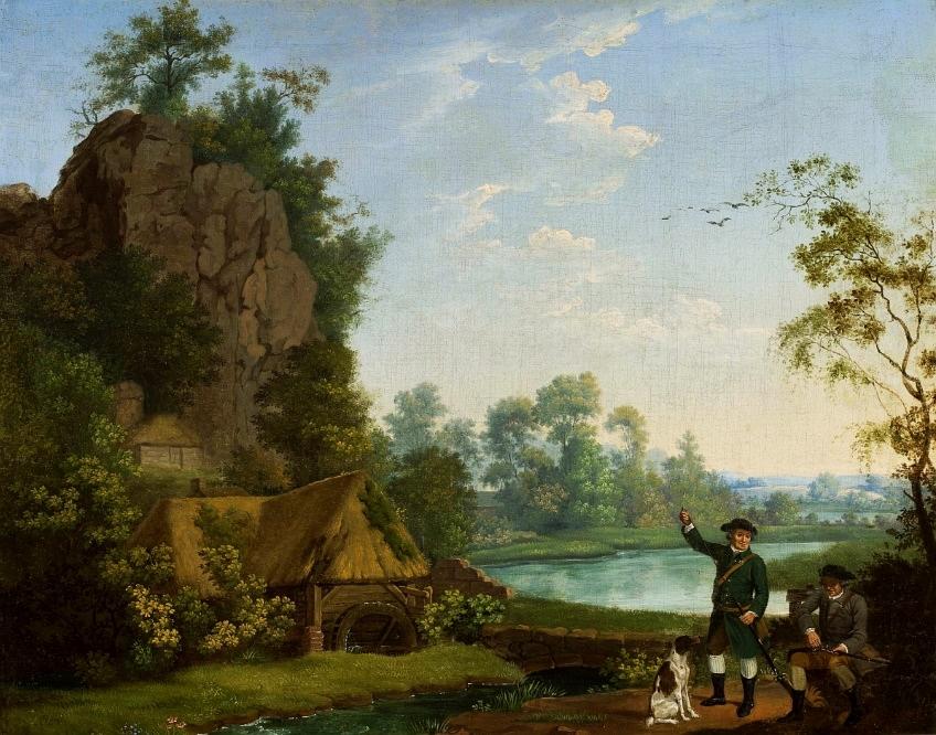 Myśliwi nad wodą w pobliżu młyna z widokiem Creswell Crags