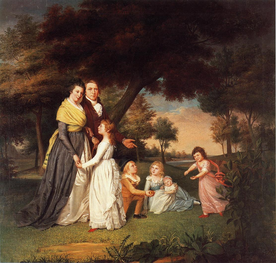 James Peale paints his family (1795) and shows off his wife in her