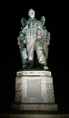 The Commando Memorial unveiled in 1952 in Scotland is dedicated to the World War II British Commandos The Commando Memorial by night.jpg