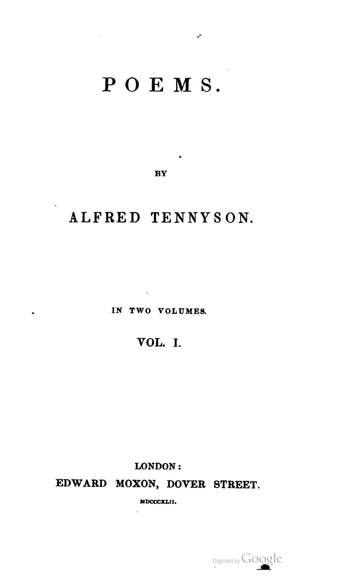 Poems Tennyson 1842 Wikipedia