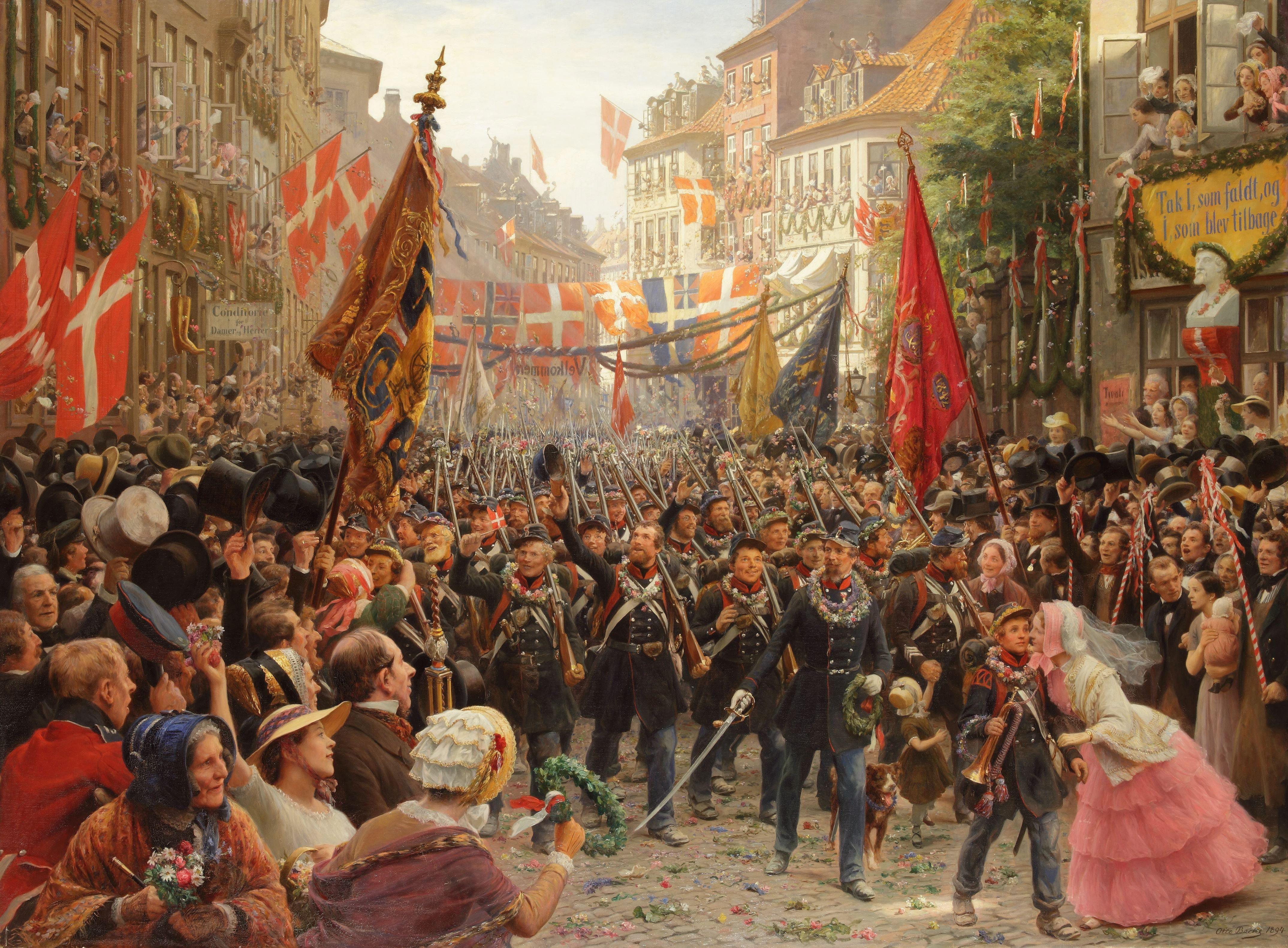 Otto Bache (1839–1927):  Danish soldiers return to Copenhagen, 1849.
