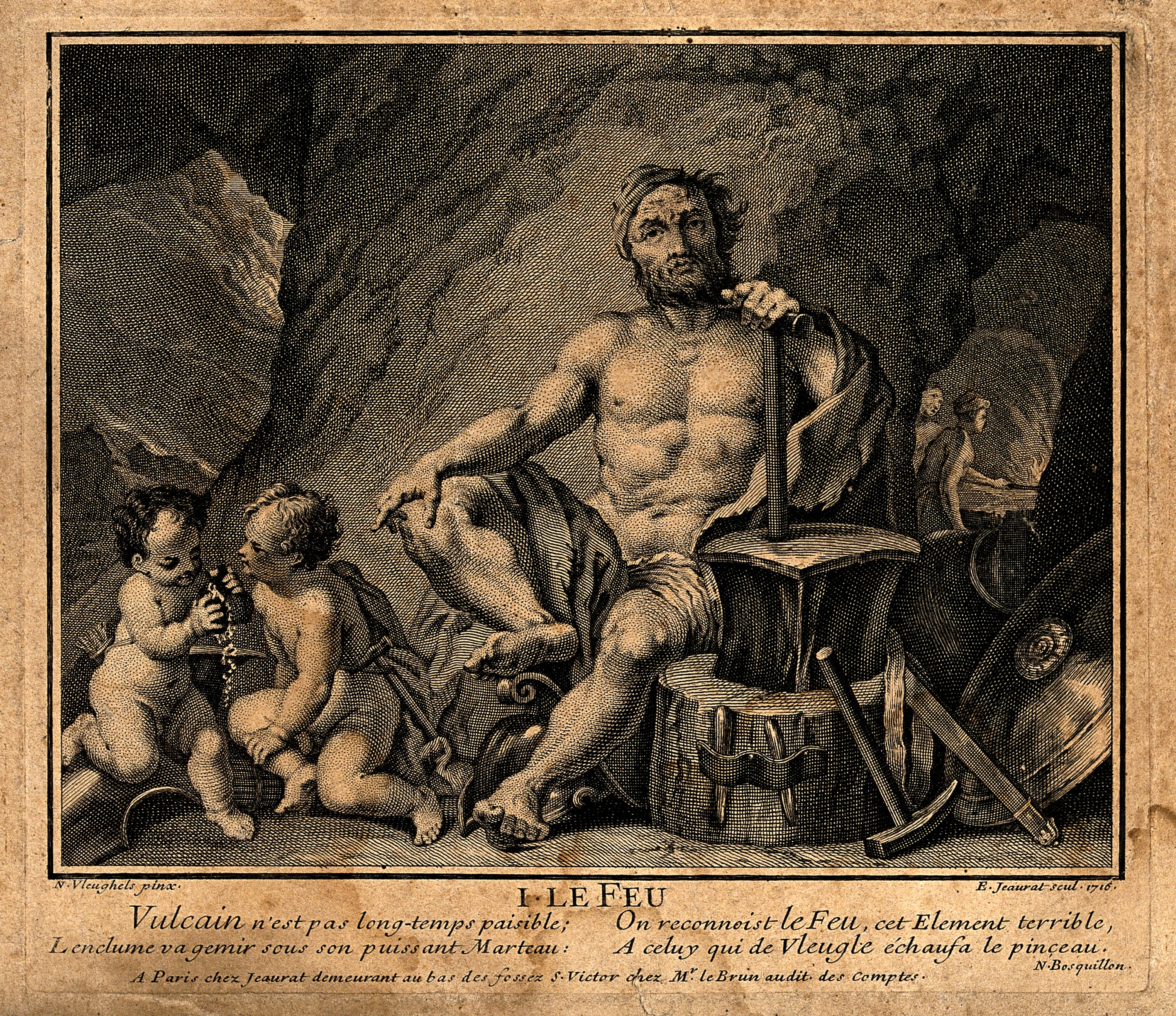 An image of Hephaestus in his forge, one of the most famous of the blacksmith gods, also known as Vulcan to the Romans.