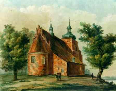 XIX-wieczna rycina przedstawiająca Kościół na wzgórzu we Włocławku. Wraz z początkami Kościoła, w mrokach historii giną też początki szpitala przy farze.