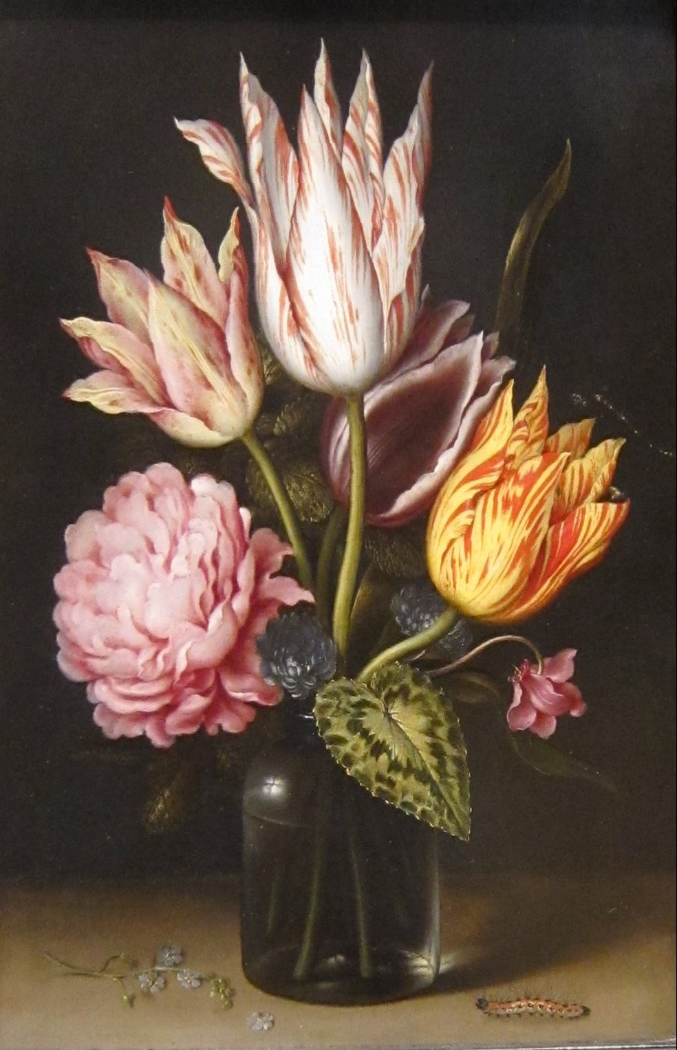 File Still Life With Bouquet Of Tulips A Rose Clover