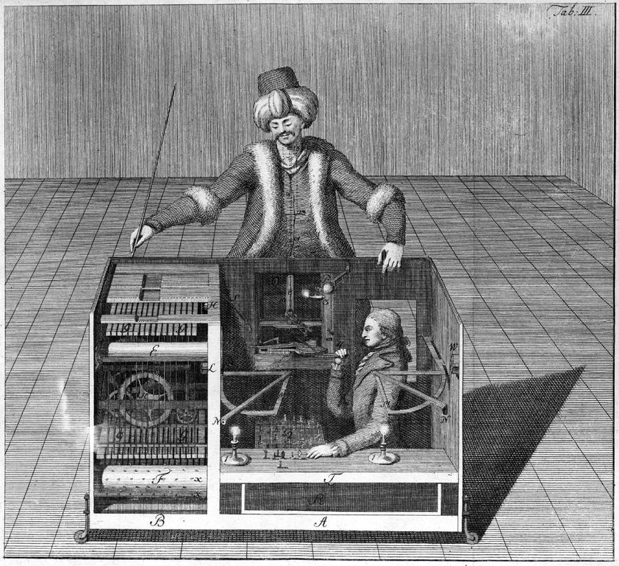 """""""The Turk."""" Engraving in Joseph Friedrich Racknitz, Ueber den schachspieler des herrn von Kempelen und dessen nachbildung (2919837469).jpg"""