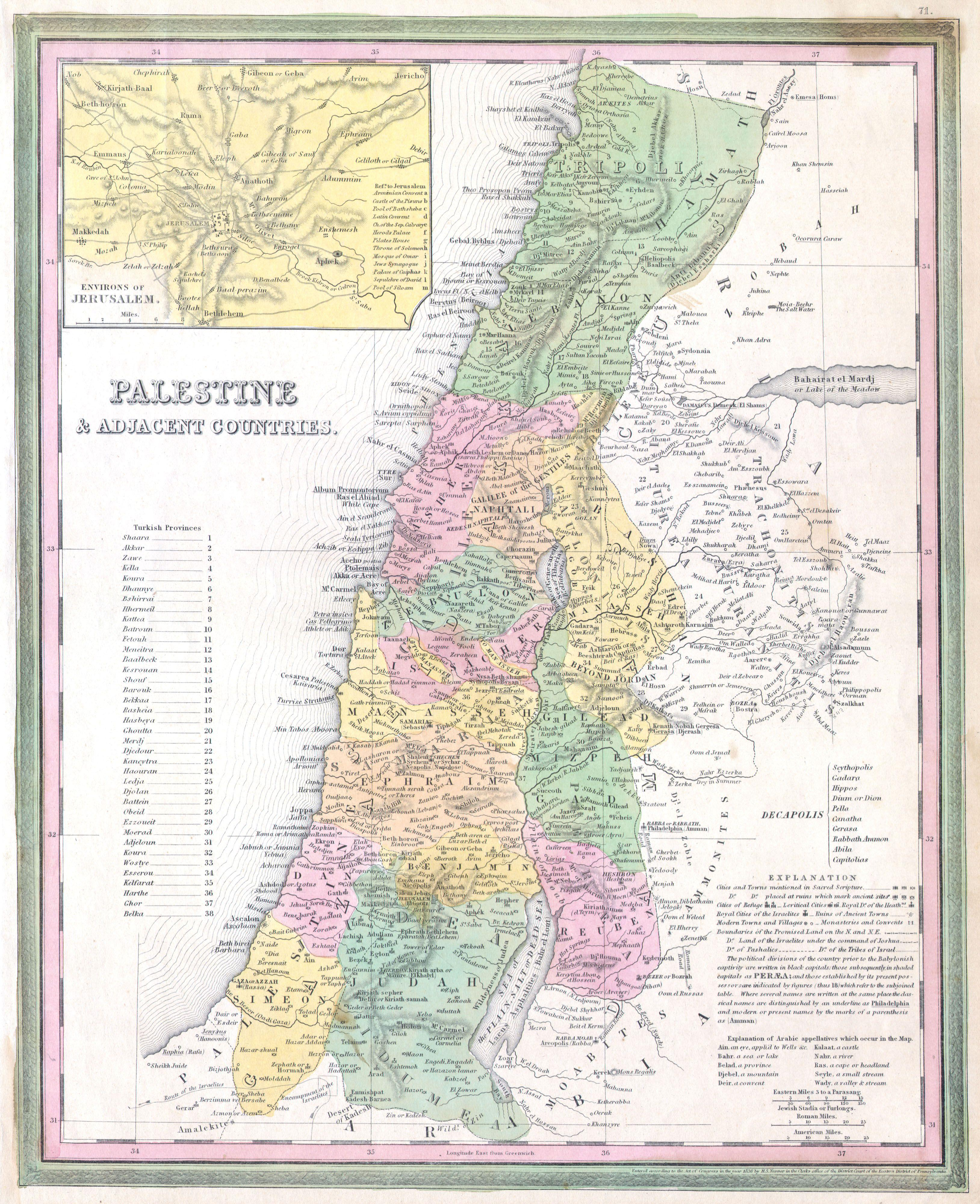 File1836 Tanner Map of Palestine Israel Holy Land