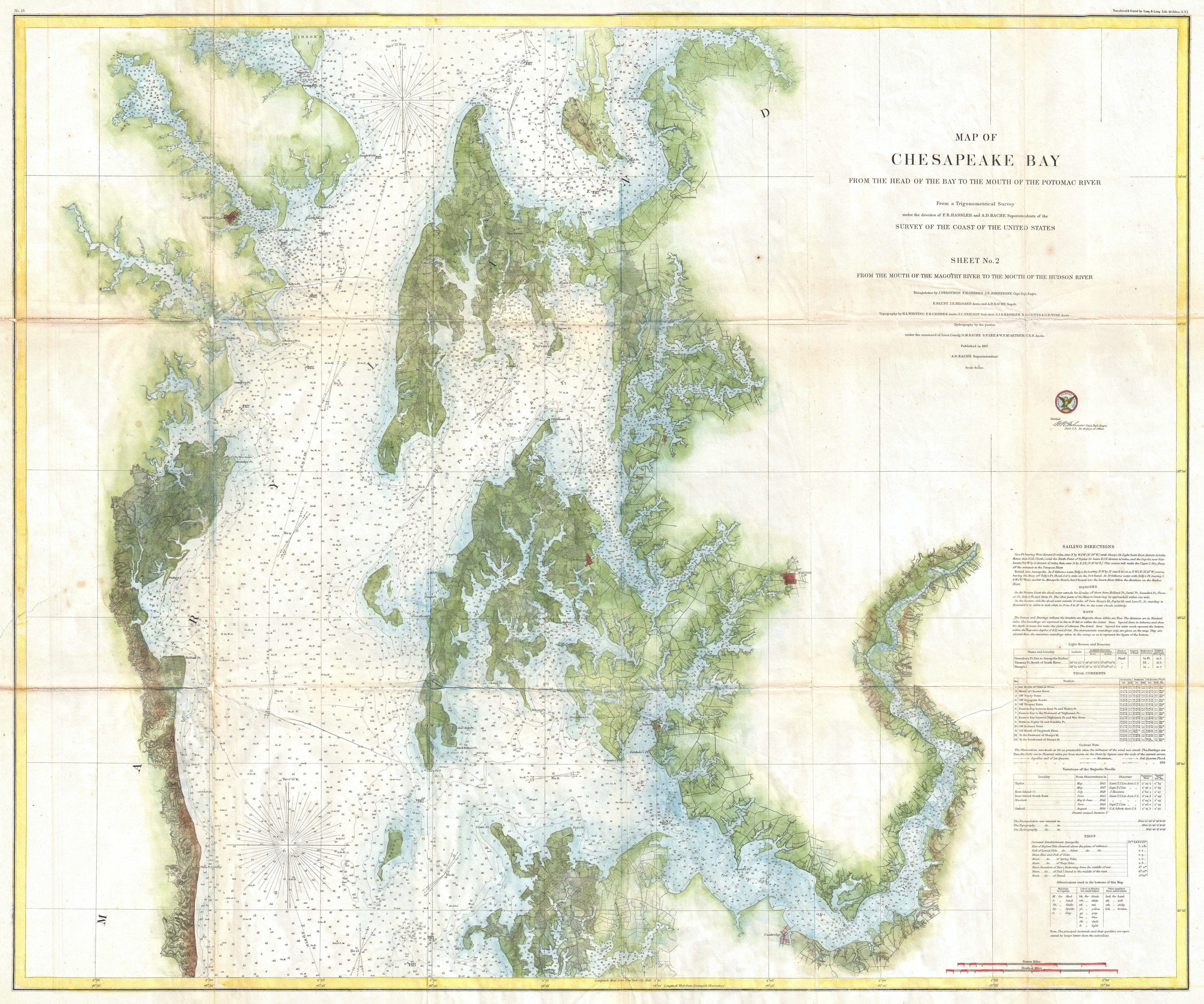 File1857 US Coast Survey Chart or Map of the Chesapeake Bay