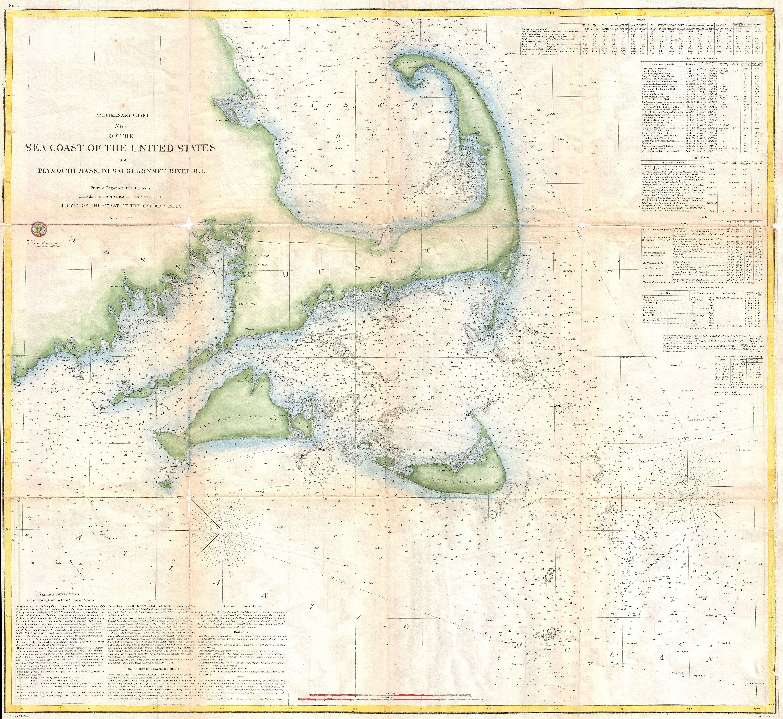 File:1857 U.S. Coast Survey Map of Cape Cod, Nantucket, and Martha\'s ...