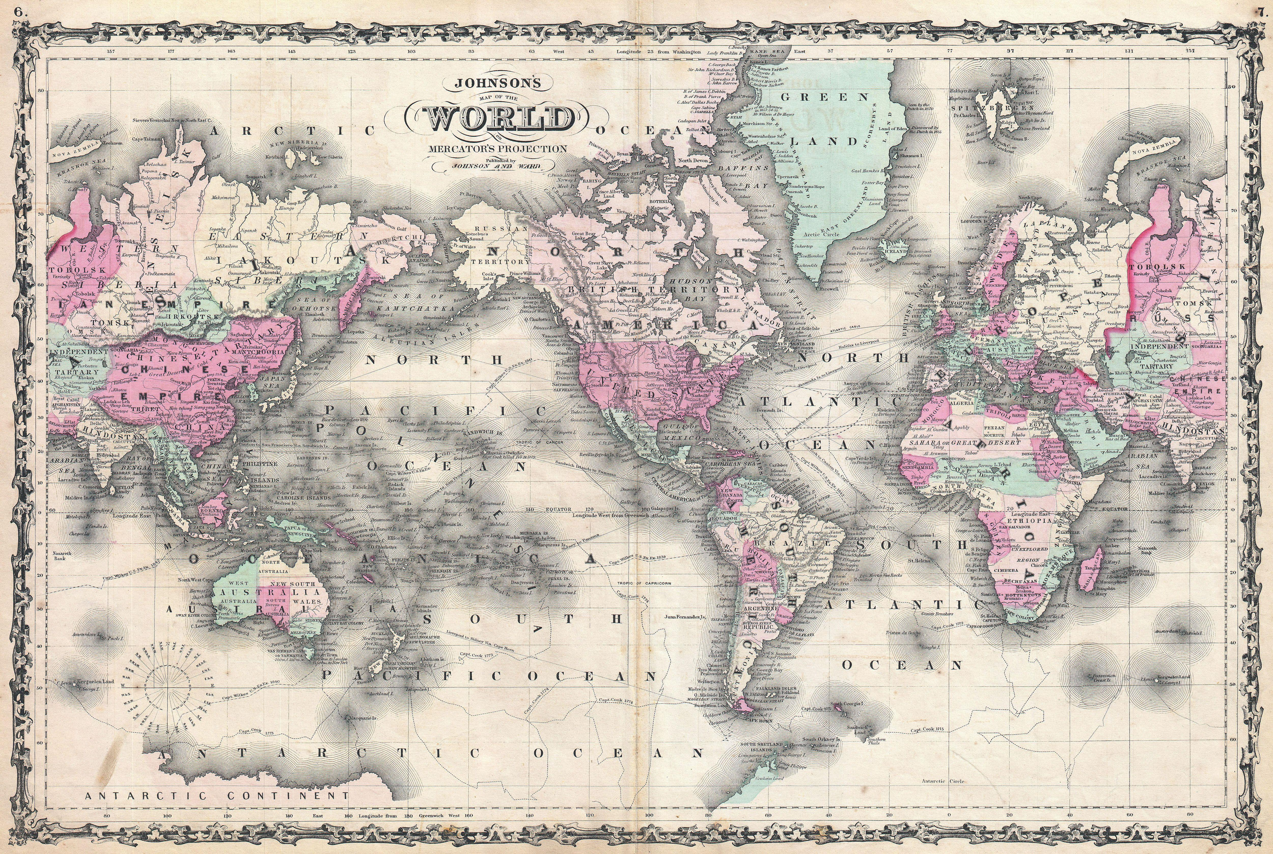 File Johnson Map Of The World On Mercator Projection - Us map 1862