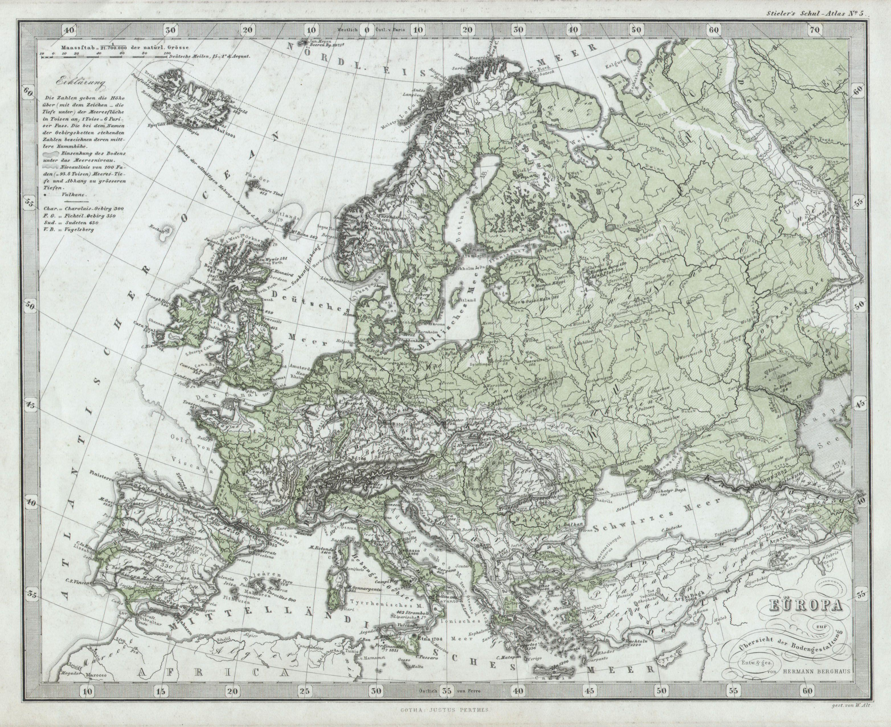 File:1862 Stieler Physical Map of Europe - Geographicus - EuropaPhy ...