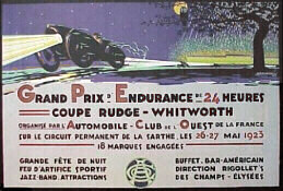 A poster for the 1923 24 Hours of Le Mans