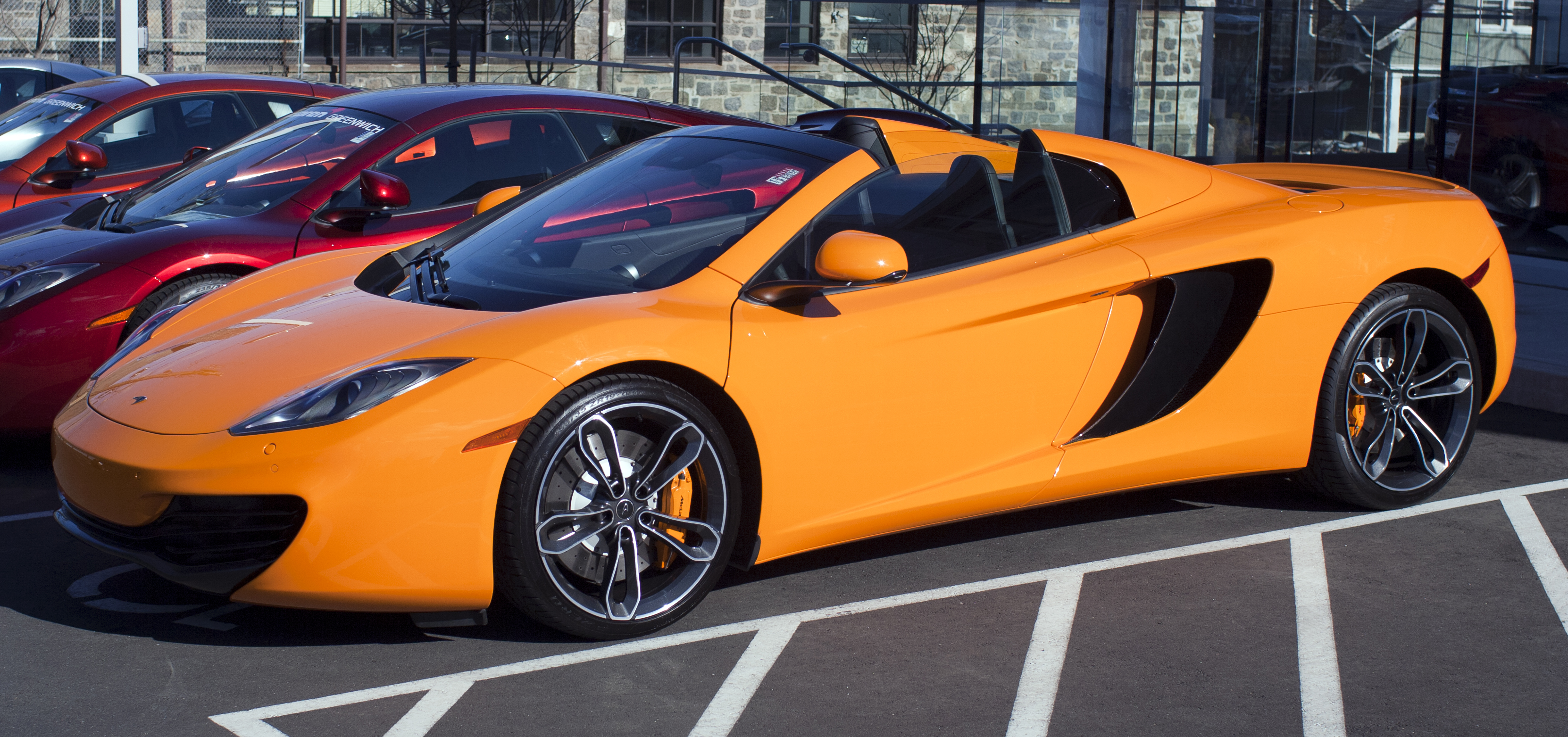 Mclaren P1 Orange >> File:2013 McLaren MP4-12C Spider fl.jpg - Wikimedia Commons