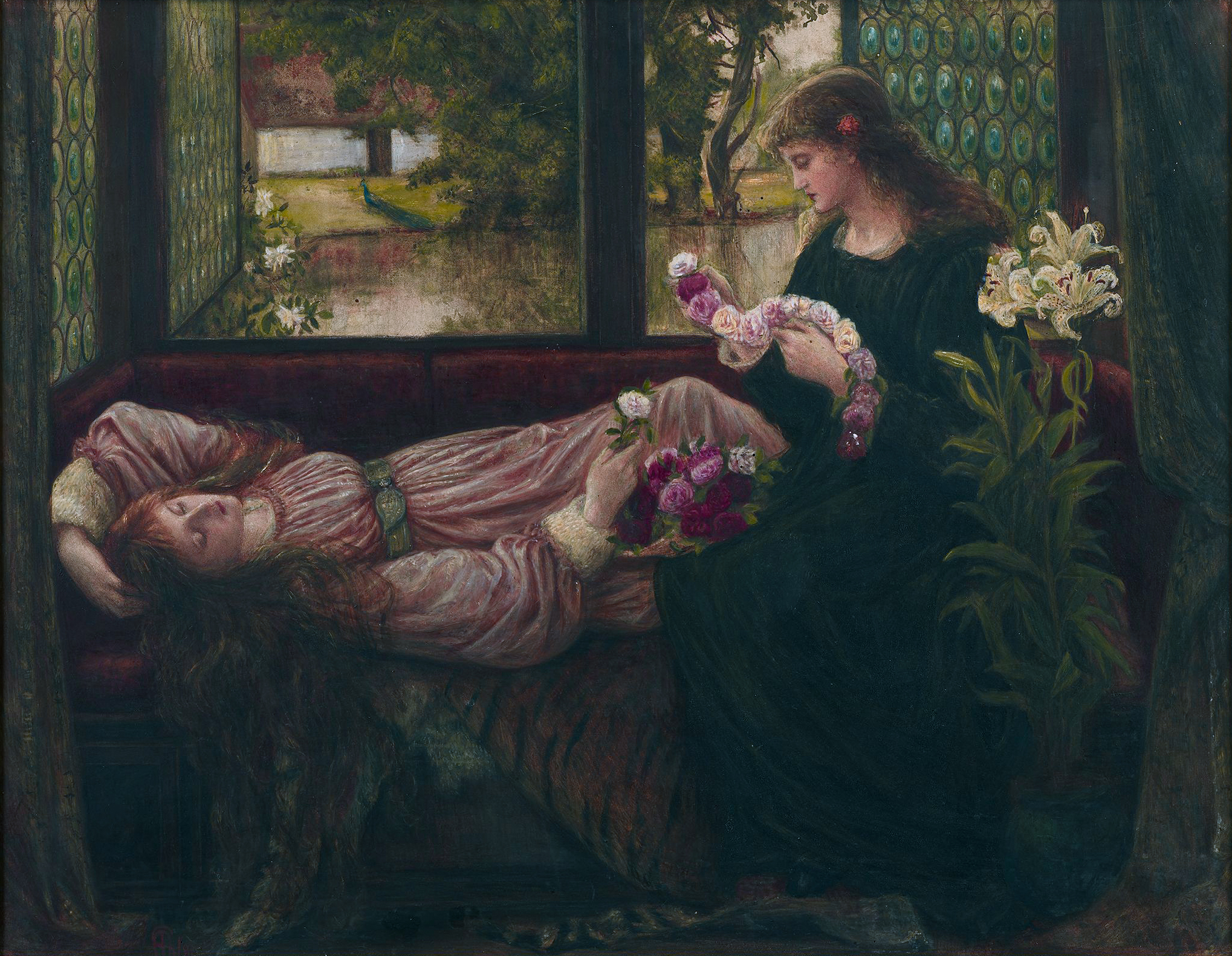 https://upload.wikimedia.org/wikipedia/commons/3/36/A_Wreath_of_Roses%2C_by_Marie_Spartali_Stillman.jpg