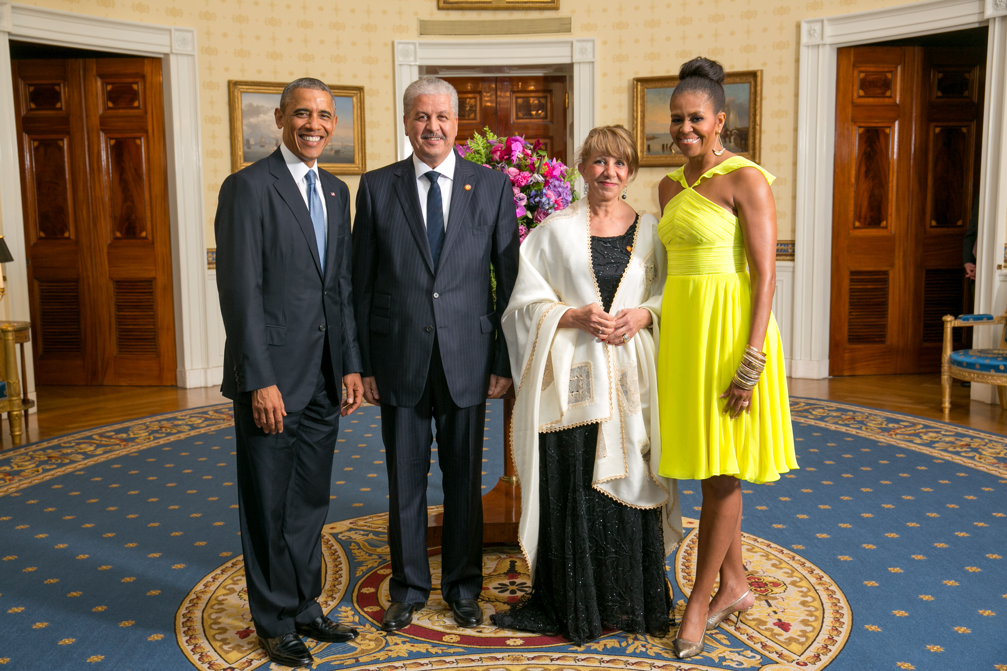 Abdelmalek Sellal with Obamas 2014.jpg