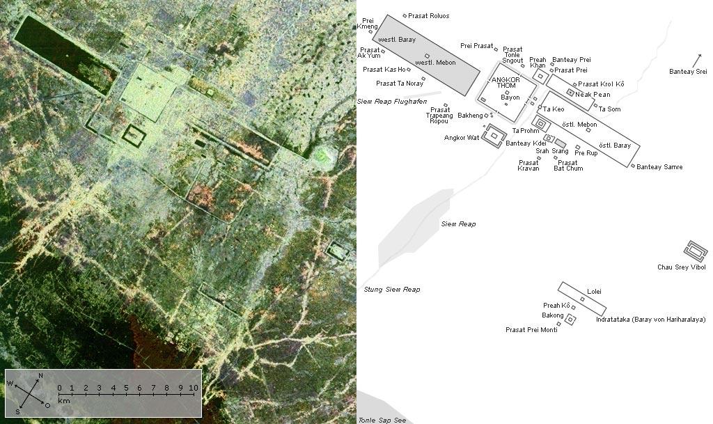 Angkor Wat Karte.File Angkor Satellit Mit Karte Jpg Wikimedia Commons