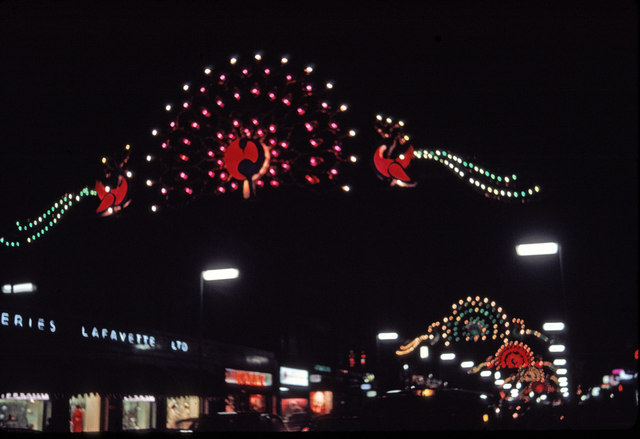 File:Christmas Lights in Regent Street, London, taken in 1969 ...