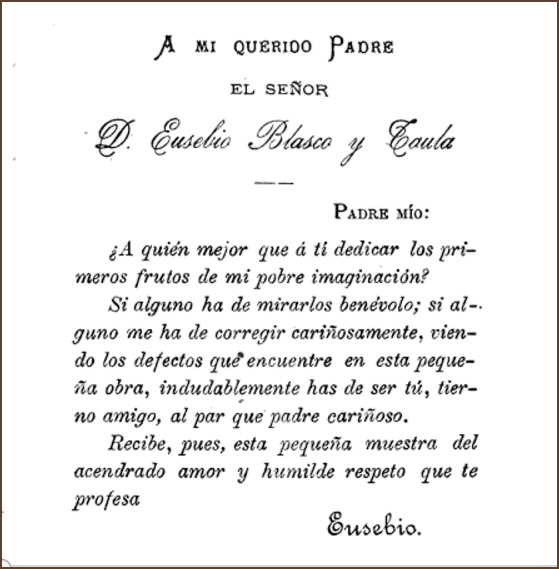 Dedicatoria de Eusebio Blasco