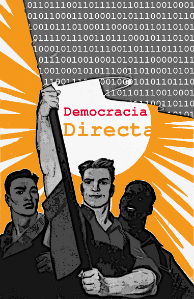 Political poster demanding a Digital Direct Democracy.