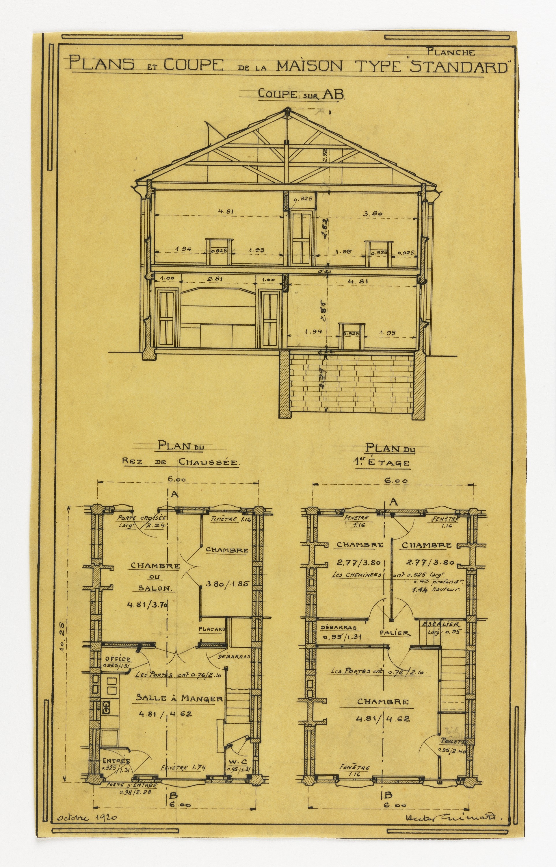 File Drawing Design For A Mass Operational House Designed By Hector Guimard Cross Section And Floor Plan October 1920 Ch 18410963 2 Jpg Wikimedia Commons
